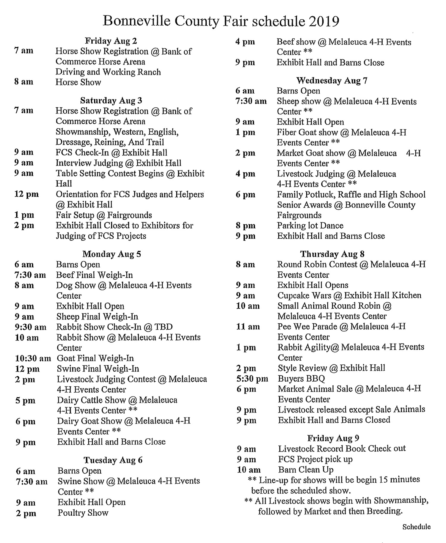 2019-Bonneville-County-Fair-Schedule